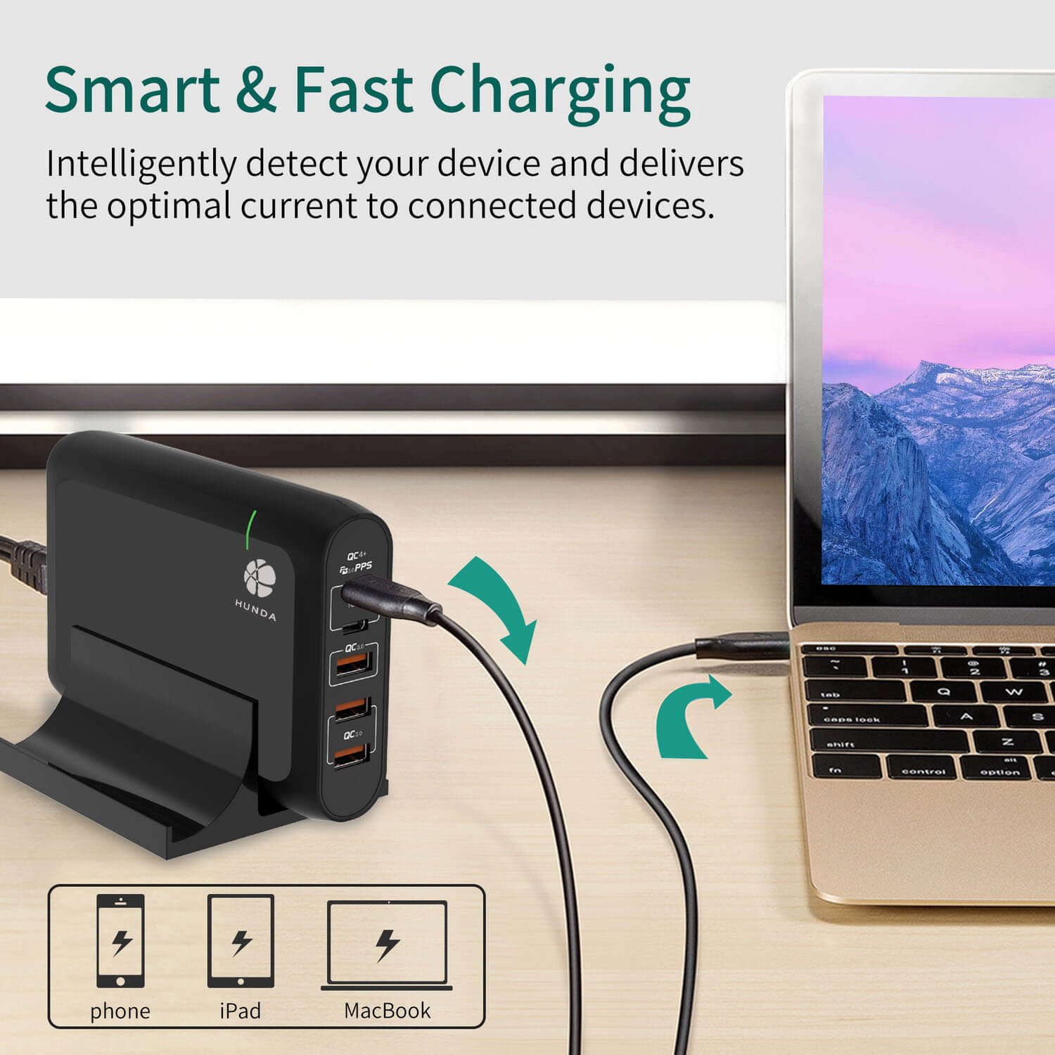 100W USB C Charger with smart chip to delivers the current to devices