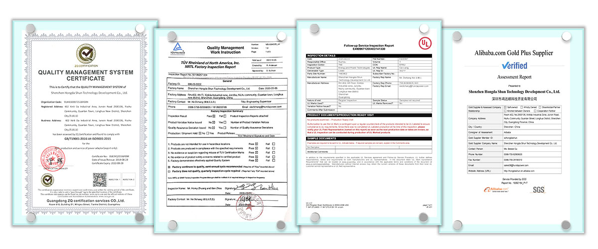 Certificates of Factory Audit