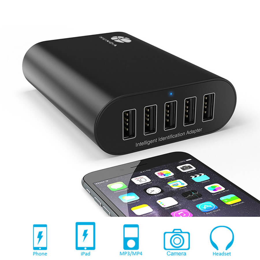 5 port usb charger for phone, ipad, mp3/mp4, camera, headset