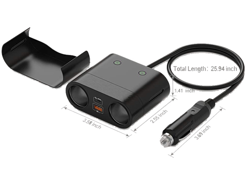 Dimension of the 120W 2 way cigarette lighter splitter and usb adapter